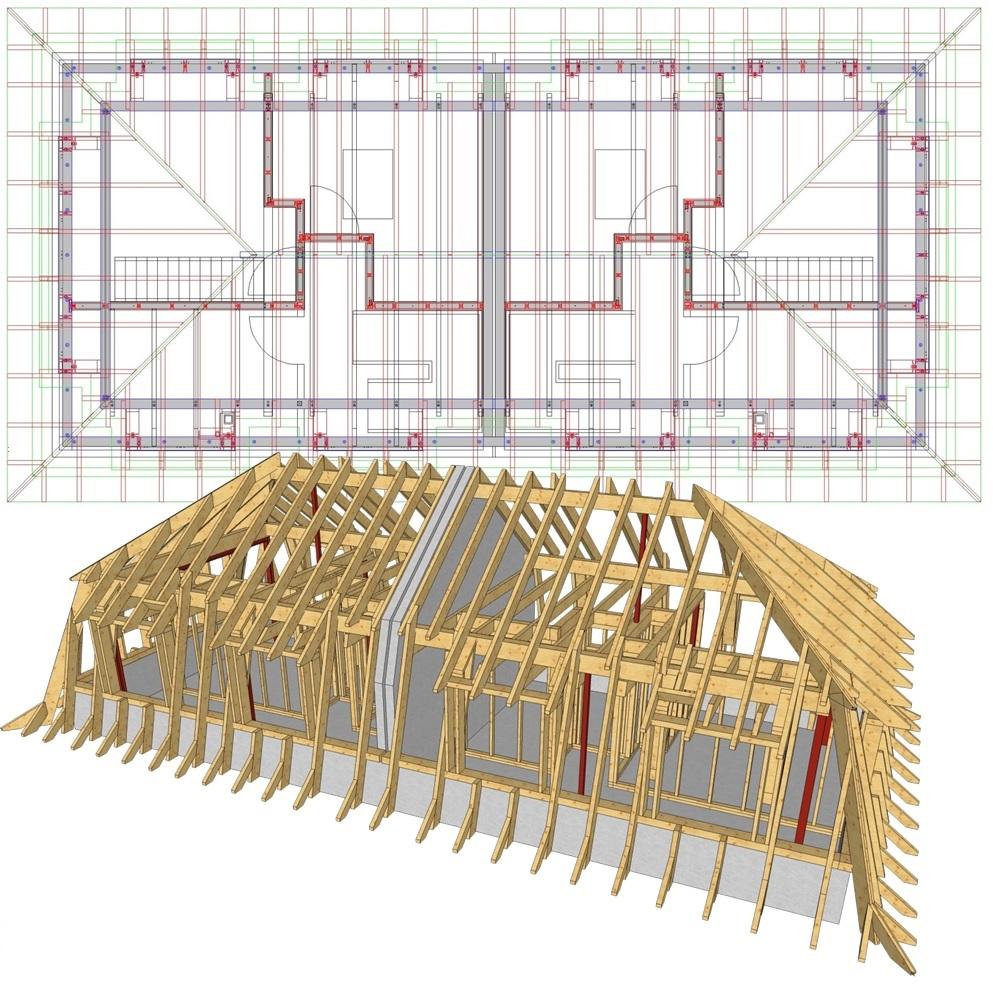 Mansarddach mit Schleppgauben eines Mehrfamilienhauses