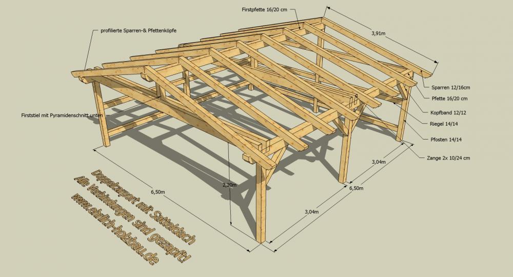 Abma e durchfahrtsh he 6 50 m x 6 50 m 2 20 m for Holzverbindungen zimmermann