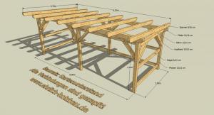 Bausatz Holzunterstand 6,00 x 2,50 m Grundfläche