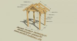 Vordach Satteldach 1,80 x 1,50 m Grundfläche