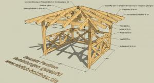 Grillpavillon 3,00 x 3,00 m Grundfläche