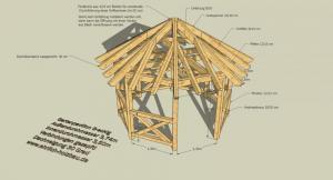 Grillpavillon mit 8-eckigem Grundriß und 3,74 m Außendurchmesser